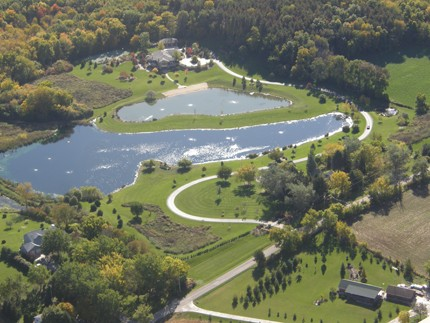 ponds, aerial view
